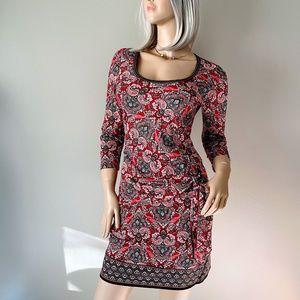Max Studio Red Printed 3/4 Sleeve Sheath Dress M